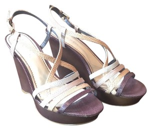 Nine West Multi: brown beige taupe and white straps Sandals