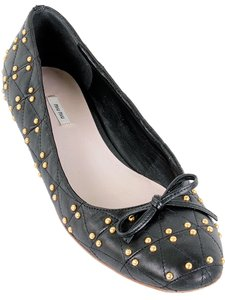 Miu Miu Studded Ballerina Quilted Gold Hardware Black, Gold Flats