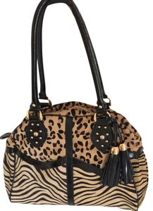 Frosting by Mary Norton Animal Print Satchel in tan and black