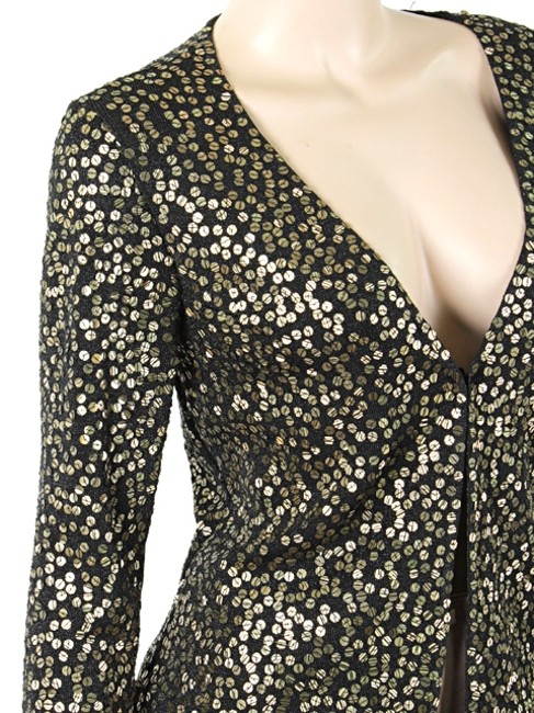 Carmen Marc Valvo Sequin Evening Studded Sheer Cardigan