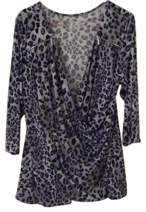 Lane Bryant Top Grey animal print
