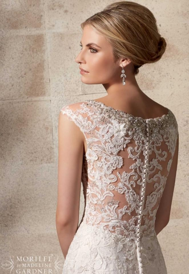 Mori Lee Cafe Embroidered Appliques On Net Over Chantilly Lace with ...