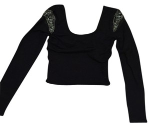 Sparkle & Fade Crop Longsleeve Top Black