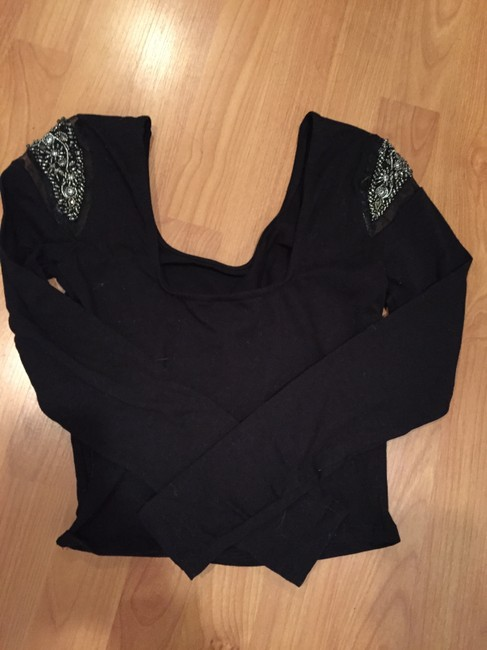 Sparkle & Fade Beaded Crop Longsleeve Top Black