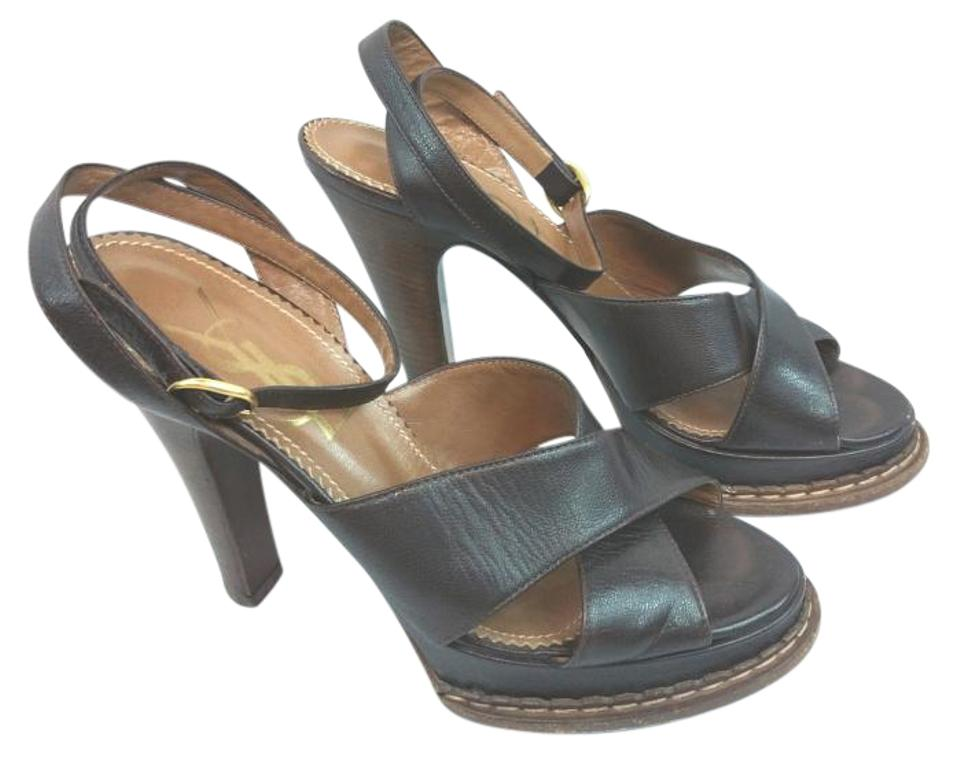 72fa0ab4164 Saint Laurent Ysl Yves Brown Leather Wooden Heels 37.5 Sandals Size ...