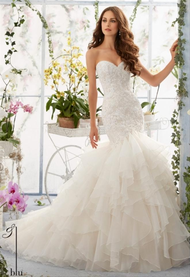 Mori Lee Ivory/Cameo Venice Lace Appliques Over Chantilly Lace Onto ...