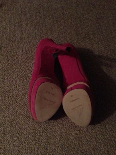 Brian Atwood Suede Glitter Sparkles Peep Toe Hot Pink/Fuschia Platforms