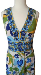 Macy's short dress Ivory, Blue and Green Pucci-style Print Sleeveless on Tradesy
