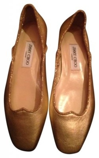 Jimmy Choo Genuine Leather Sequins Sparkle Gold Flats