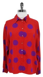 Missoni Donna Red & Polka Dot Button Up Top