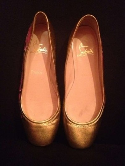 Christian Louboutin Geniune Leather Gold with Graffiti on the outer side Flats