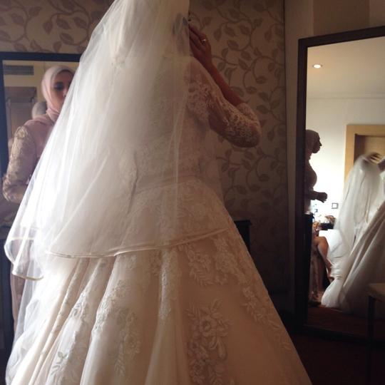 Allure Bridals Off White with Light Champagin Organza and Lace Modest Wedding Dress Size 2 (XS) Image 1