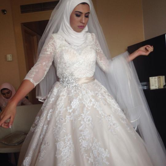 Allure Bridals Off White with Light Champagin Organza and Lace Modest Wedding Dress Size 2 (XS) Image 2