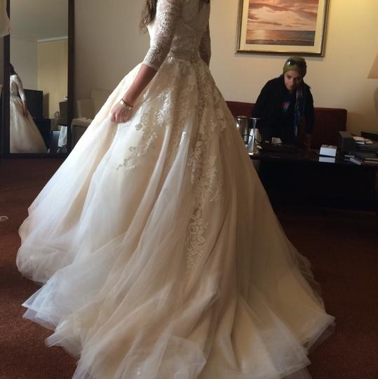 Allure Bridals Off White with Light Champagin Organza and Lace Modest Wedding Dress Size 2 (XS) Image 8