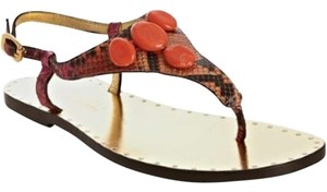 Michael Kors Thong Leather Italy Cassia Magenta /Dune/Painted Python with Coral Stone Sandals