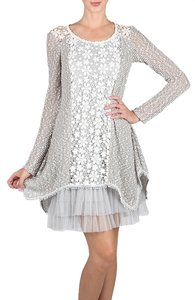 Modcloth short dress Silver Vintage Floral Lace on Tradesy