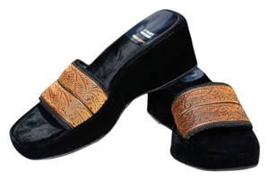 Stuart Weitzman Paisley Black Orange Rust Cognac Velvet Leather Sandals Wedge Platform Women Tapestry Vintage Black, Rust Mules