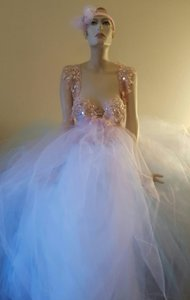 Pink Blue & White Fairy Goddess Crystal Sequin Tulle Bridal Ball Gown Wedding Dress