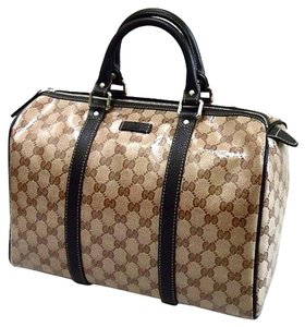 Gucci Travel Weekender Carryon Satchel in Beige/Brown