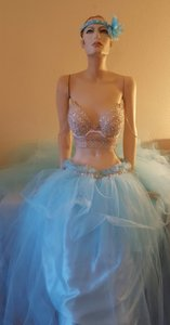 Blue & Silver Bikini Goddess Crystal Sequin Tulle Bridal Ball Gown Wedding Dress