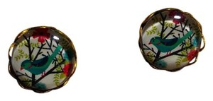 New Blue Bird Stud Cabochon Earrings Small J2659