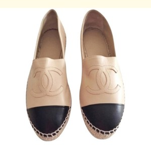Chanel Beige and Black Flats