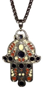 Theodora & Callum New Authentic Theodora & Callum Antique Silver Red Hamsa Necklace