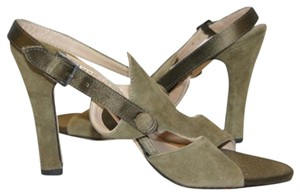 Manolo Blahnik Olive Army Suede green Sandals