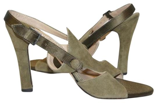 Manolo Blahnik Olive Army Suede Leather green Sandals