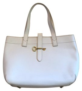 Fossil All Leather Handbag Tote in white