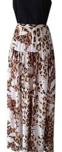 Boston Proper Maxi Maxi Skirt brown/white animal print