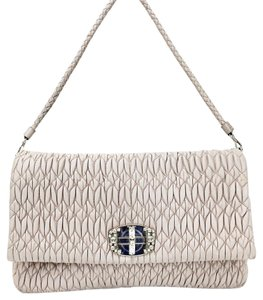 Miu Miu Pleated Crystal Leather Shoulder Bag