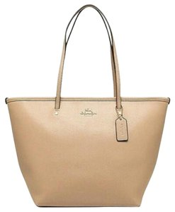 Coach Zip Top City Tote in Nude