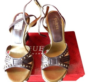 Guess Leather Upper Balance Man Made Straps Dark Brown Wedges