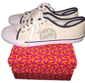 Tory Burch Cream And Navy Blue Athletic