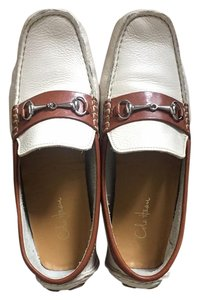Cole Haan Leather Loafer Metallic Hardware Cream Flats