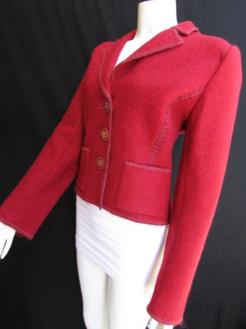 Oscar de la Renta Women Hot Red Wool Short Big Buttons Fashion Coat 4410 Reds Jacket