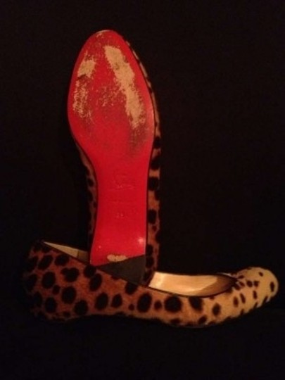 Christian Louboutin Calf Hair Toe Cleavage Leopard Print Flats
