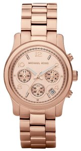 Michael Kors Runway Chronograph Gold Dial Rose Gold-tone Ladies Watch MK5128