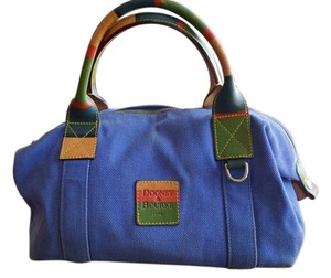 Dooney & Bourke Canvas Multi-color Strap Satchel in Blue with Multicolor Handles