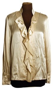 Magaschoni Silk Longsleeve Ruffle Button Down Top Ivory