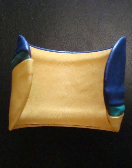 Other Vintage metal cuff wrapped in yellow, blue and green leather