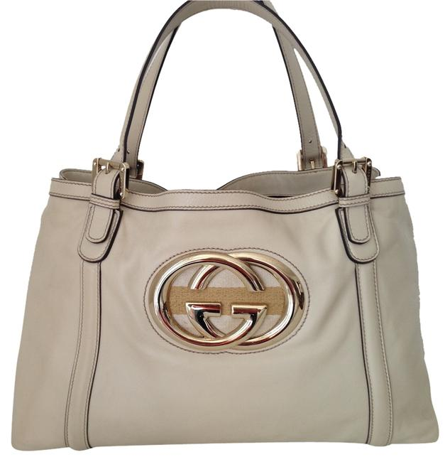 Item - Gg Logos Creamy Beige Lambskin with Gold Hardware Leather Tote
