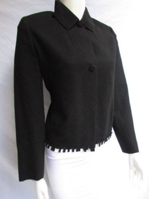 Valentino Women Wool Blend Fashion Classic Double Buttons Cuts 428 Black Jacket