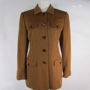 Escada Women Camel Rabbit Angora Wool Long Coat 36 Brown Jacket