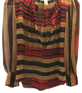 Diane von Furstenberg Top Red & Tan