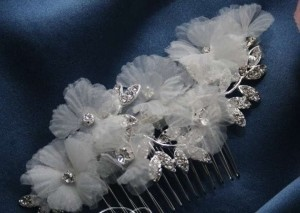 Organza And Rhinestone Comb