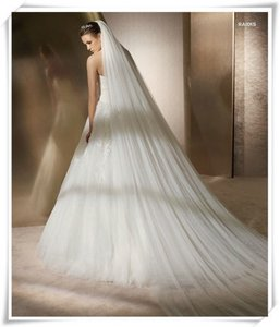 6' White Cathedral 1 Tier Wedding Veil Free Shipping
