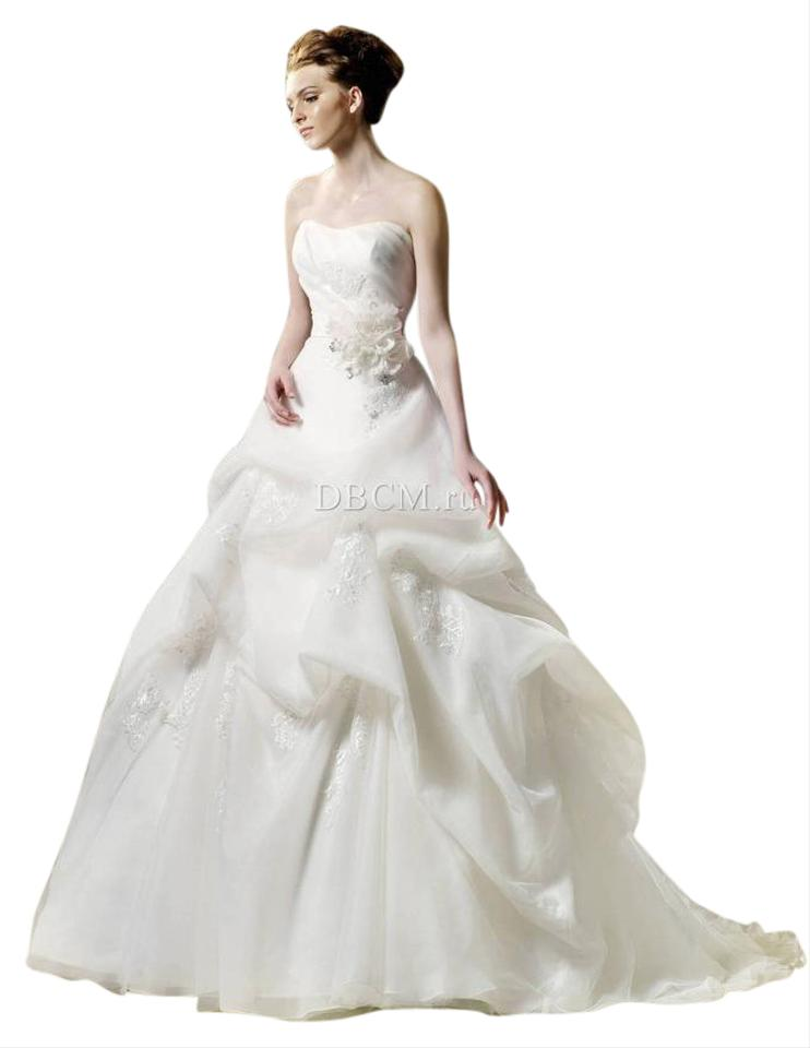 Enzoani Soft Matte White Organza Ball Gown with Lace Appliques ...