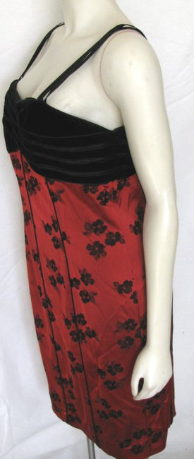 Juliana Collezione Sexy Pin-up Classy Velvet Sleeveless Top Black Floral Print Size 12 Made In Usa Designer Dress